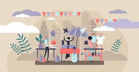 Flea market vector illustration. Flat tiny swap meet event persons concept.