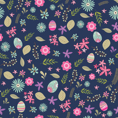 Seamless Easter pattern background with floral design, flower pattern background, vector illustration