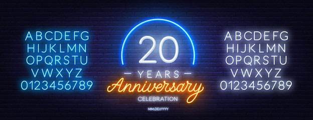 20 anniversary celebration neon sign on dark background. Neon alphabet . Template for invitation or greeting card.