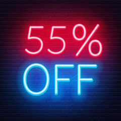 Fototapete - 55 percent off neon lettering on brick wall background. Vector illustration