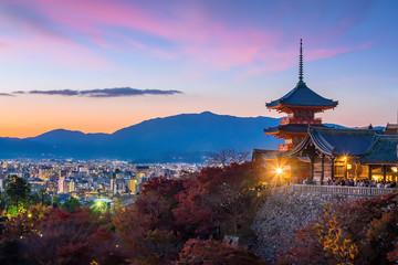 Papiers peints Kyoto Autumn Color of Kyoto skyline and Kiyomizu-dera Temple in Kyoto