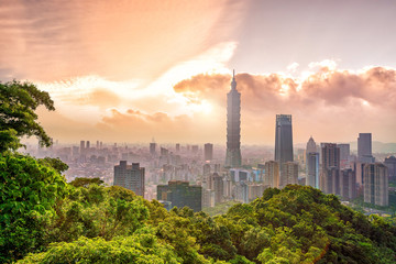 Wall Mural - Taipei city skyline landscape at sunset time