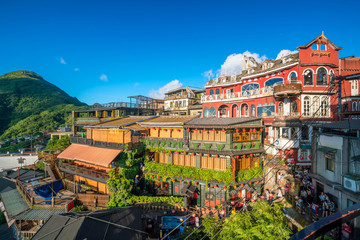 Many tourist in restaurant at old street in Jiufen Taiwan