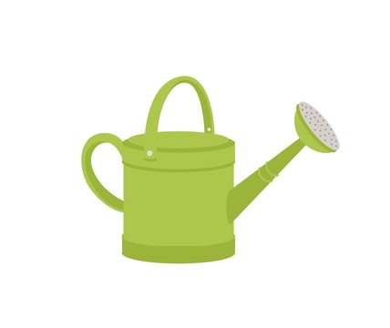 Green metal watering can or pot isolated on white background