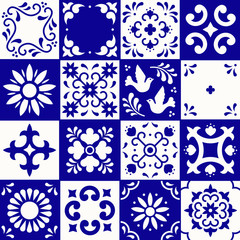 Mexican talavera pattern. Ceramic tiles with flower, leaves and bird ornaments in traditional style from Puebla. Mexico floral mosaic in navy blue and white. Folk art design.