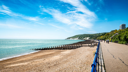 Eastbourne promenade and the South Downs, England
