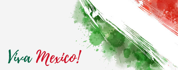 Grunge watercolored Mexico flag banner