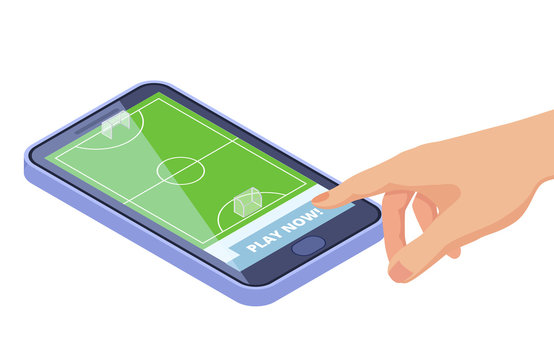 Isometric football field on smartphone - sport games mobile app vector concept. Sport game on smartphone, app football isometric illustration