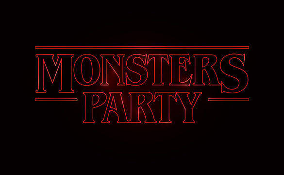 Monster Party text design, Halloween word theme Red glow text on black background. 80's style, eighties design. Vector illustration