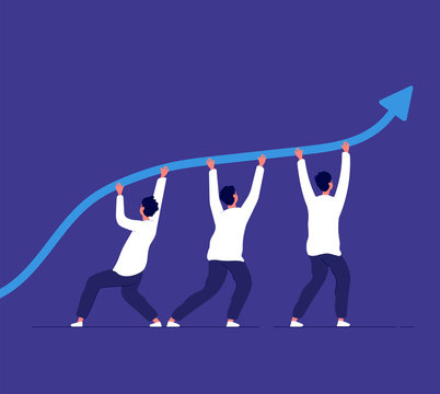 Business growth. People pointing up trend line. Team challenge and corporate achievement. Winning strategy vector concept. Illustration business growth up arrow, businessman success strategy increase