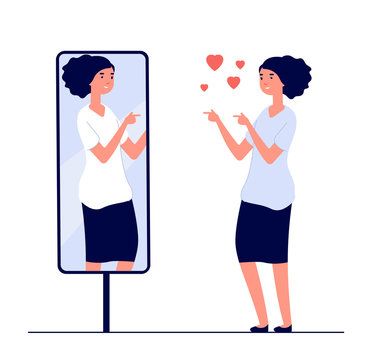 Woman at mirror. mirrored happy girl. cartoon reflected beautiful female narcissism and love of self vector concept. Illustration of woman look at mirror, happy character female