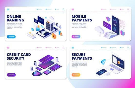 Online banking landing page. Mobile payments, credit card security vector banners. Mobile finance transfer, transaction and buy, electronic digital app illustration