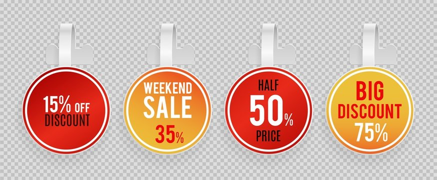 Sale wobblers mockup. Special offer, discount vector banners template on transparent background. Wobbler discount advertising, tag plastic for retail illustration