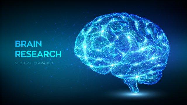 Brain. Low poly abstract digital human brain. Neural network. IQ testing, artificial intelligence virtual emulation science technology concept. Brainstorm think idea. 3D polygonal vector illustration.