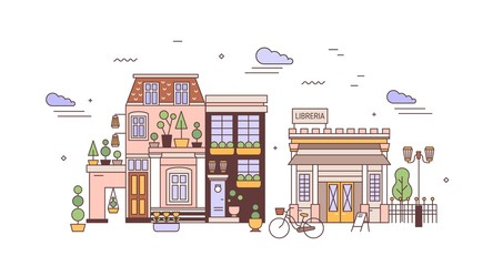 Fototapete - Urban landscape or cityscape with facades of elegant residential buildings of European architecture. View of city district with living houses and library. Vector illustration in line art style.