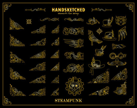 Vector vintage elements for design. Steampunk collection, hand drawn mechanical watch, clock, gear wheel, birds, feathers, owl, cat. Ornate art for frames, borders, logo. Metallic gold color on black