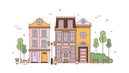 Fototapete - Exterior view of elegant residential buildings of European architecture. Urban landscape or cityscape with district of exquisite living houses. City real estate. Vector illustration in linear style.