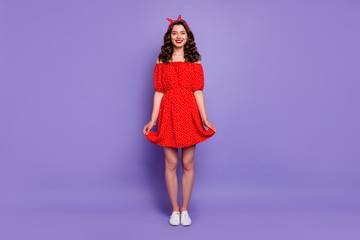 Full body photo of funny lady just finished party clothing wear off-shoulders dress isolated purple background