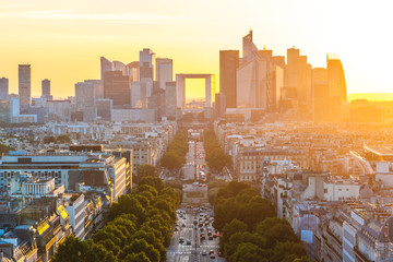 cityscape of paris by the sunset in france