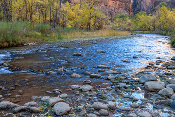 The Virgin River lazily winds it's way through Zion National Park