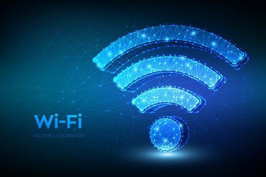 Wi-Fi network icon. Low poly abstract Wi Fi sign. Wlan access, wireless hotspot signal symbol. Mobile connection zone. Data transfer. Router or mobile transmission. 3D polygonal vector illustration.