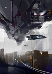 Spaceships over futuristic cityscape - Digital painting - Science Fiction concept