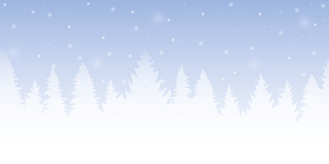 bright blue forest winter background with firs and snow vector illustration EPS10