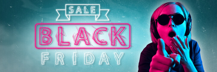 Black friday, sales concept. Neon lighted letters on gradient background. Astonished woman pointing. Negative space. Modern design. Contemporary art. Creative conceptual and colorful collage.