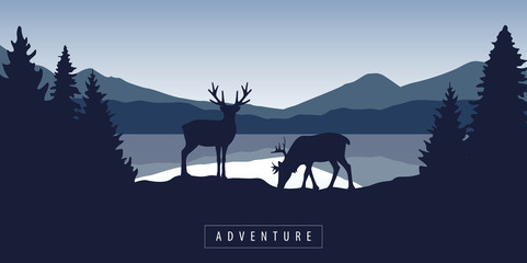two moose in wildlife at beautiful lake in blue mountains vector illustration EPS10 Fotomurales