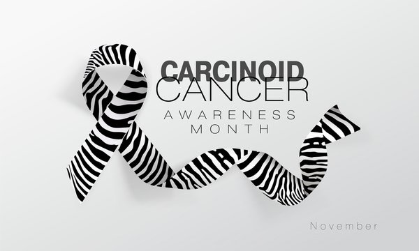 Carcinoid Cancer Awareness Calligraphy Poster Design. Realistic Zebra Stripe Ribbon. November is Cancer Awareness Month. Vector