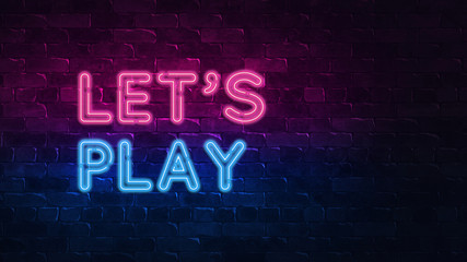 Retro 3d render banner with blue neon signboard let's play on colorful background for game design. 3d neon sign. Colorful design. Streaming video game. Neon banner. Concept design. Game logo.