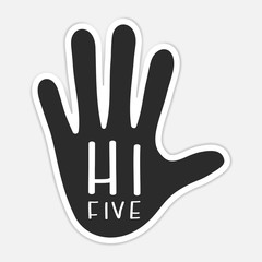 Counting fingers - number five. Hand showing five fingers, high five sign. Communication gestures concept. Vector illustration isolated on white background flat design.