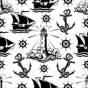 Seamless pattern with lighthouse ships and anchors on a white background.