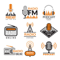 Radio logo. Podcast towers wireless badges radio station symbols vector collection. Illustration wireless radio station emblem