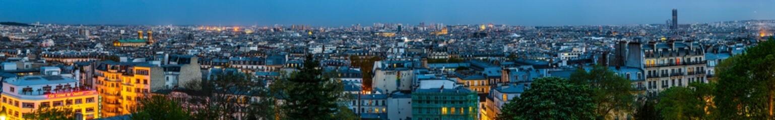 Foto op Canvas Panorama de Paris au crépuscule