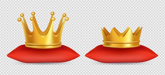 Fototapeta Realistic gold crowns. Vector king and queen crowns on red pillow isolated on transparent background. Illustration of gold crown 3d, kingdom royal, emperor coronation obraz