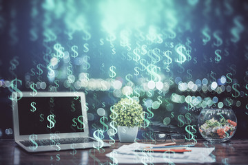 Poster Submarine Forex market chart hologram and personal computer background. Multi exposure. Concept of investment.