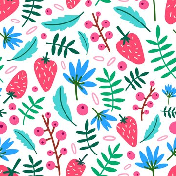 Motley seamless pattern with summer strawberries, flowers and leaves on white background. Botanical backdrop with ripe wild berries and foliage. Flat vector illustration for wrapping paper, wallpaper.