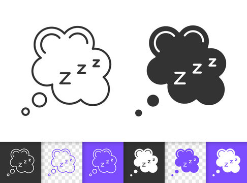 Sleep zzz bubble simple black line vector icon