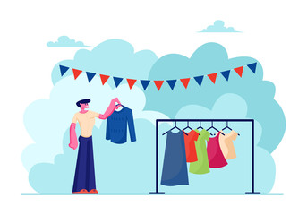 Male Character Choose Clothing to Buy during Outdoor Garage Sale Event. Man Watching Different Old Clothing on Hanger at Weekend Fair, Spare Time Recreation, Leisure Cartoon Flat Vector Illustration