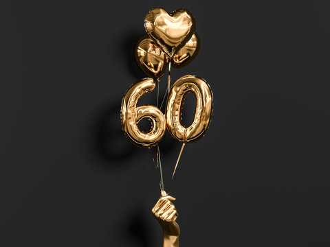 60 years old. Gold and black Number 60th anniversary, happy birthday congratulations. 3d rendering.