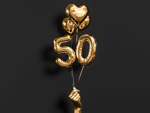 50 years old. Gold and black Number 50th anniversary, happy birthday congratulations. 3d rendering.
