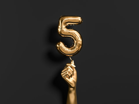 Five year birthday. Golden hand holding Number 5 foil balloon.  Five-year anniversary background. 3d rendering