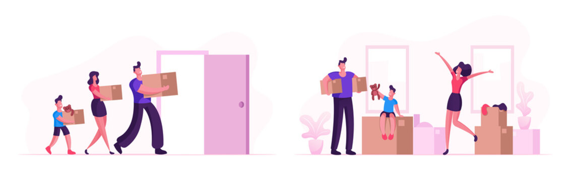 Happy Family Moving into New House. Mother, Father and Little Son Carry Boxes and Things to Home. People Buying Real Estate Apartments for Living, Relocation Process Cartoon Flat Vector Illustration