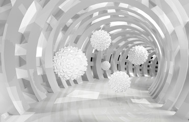 3d wall tunnel with flying balls 3d rendering