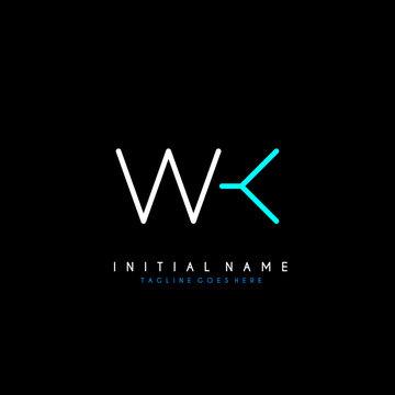 Initial W K WK minimalist modern logo identity vector