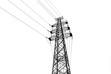 Vector high voltage pylons on white background in isometric perspective. 3d metal pole voltage, isolated background. Industrial illustration. Power line pylons with safety lock. Power plant equipment.