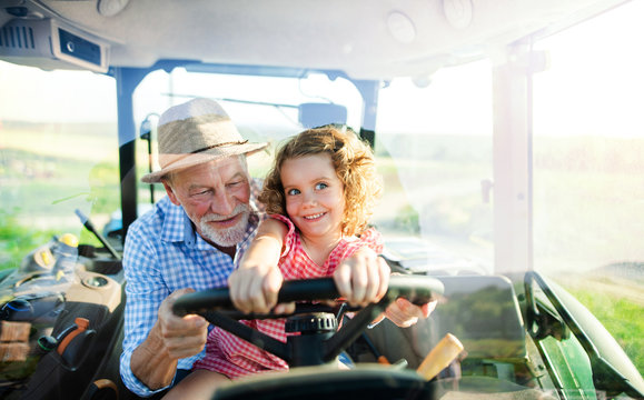 Senior farmer with small granddaughter sitting in tractor, driving.