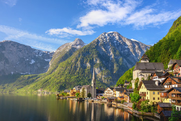 Hallstatt Austria, Nature landscape of Hallstatt village with lake and mountain