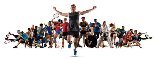 Sport collage. Running, soccer, fitness, bodybuilding, tennis, fighter and basketball players Fototapete